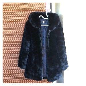 Hooded Chevron Faux Fur Coat Black